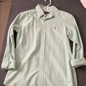 Button down polo mint green